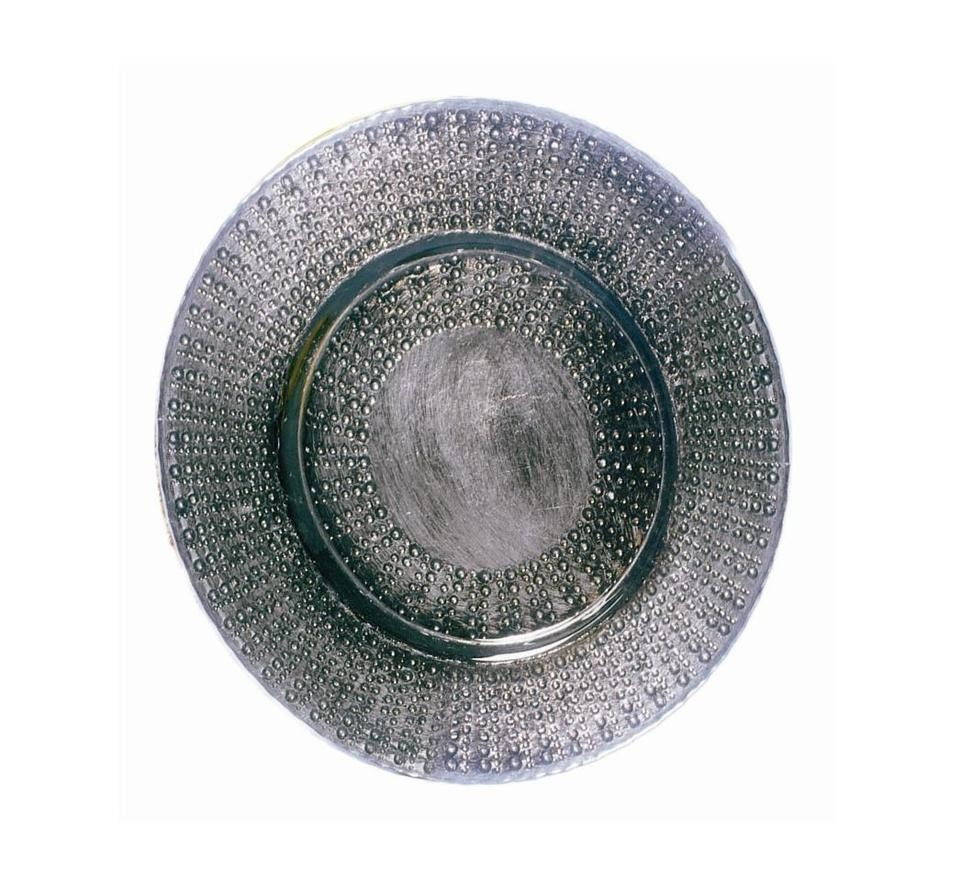 Aztec Black & Silver Glass Charger Plate