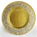 ChargeIt by Jay Baroque Scroll Silver and Gold Glass Charger Plate 13""