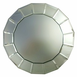 Beveled Block Mirror Round Charger Plate