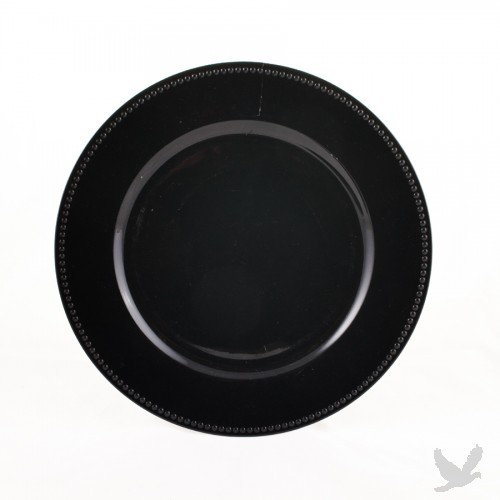 Black Beaded Acrylic Charger Plates