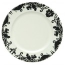 Black Brocade Rimmed White Lacquered Charger Plate