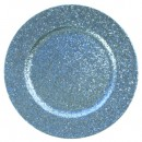 Blue Glitter Acrylic Charger Plate