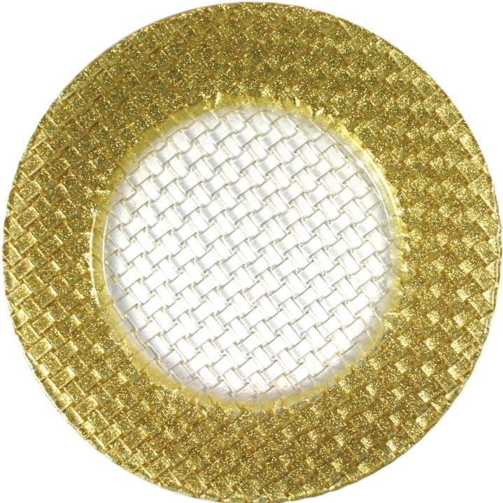 ChargeIt by Jay Round Braided Gold Glitter Glass Charger Plate 13""