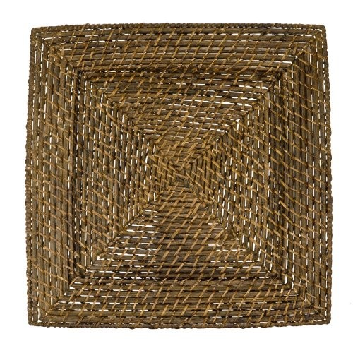 ChargeIt by Jay Brick Brown Square Rattan Charger Plate 13""
