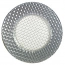 ChargeIt by Jay Round Braided Silver Glitter Glass Charger Plate 12.5""