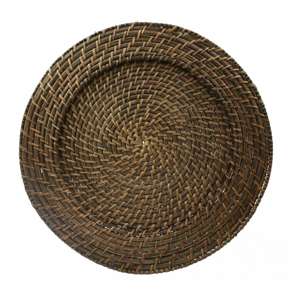ChargeIt by Jay Brick Brown Round Rattan Charger Plate 13""