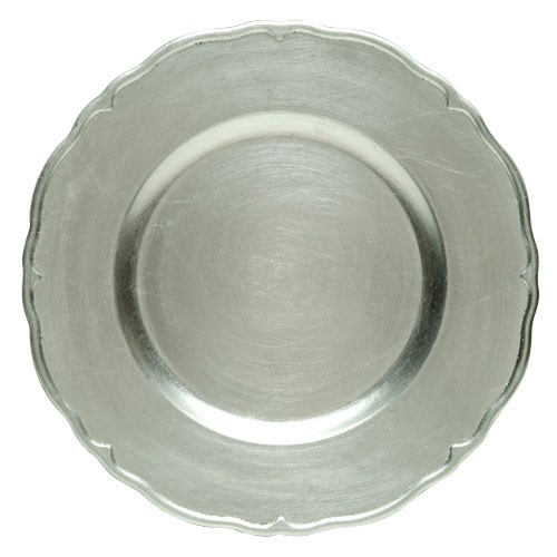 ChargeIt by Jay Silver Regency Round Charger Plate 13""