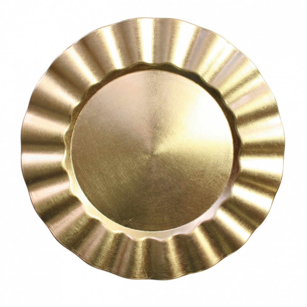 """ChargeIt by Jay Round Gold Ruffle Rim Melamine Charger Plate 13"""""""