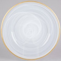 ChargeIt by Jay Alabaster Silver Glass Round Charger Plate with Gold Rim 13""