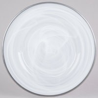 ChargeIt by Jay Alabaster Silver Glass Round Charger Plate with Silver Rim 13""