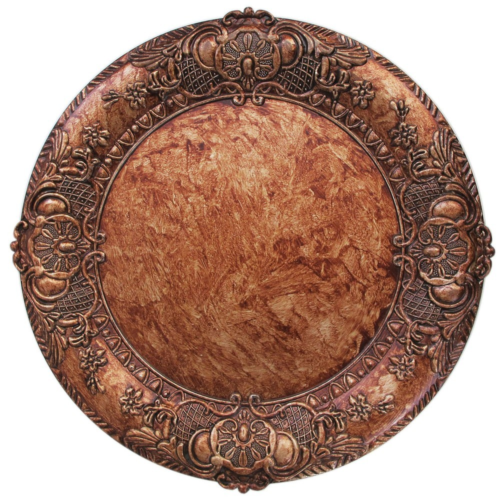 ChargeIt by Jay Embossed Copper Round Charger Plate 14""