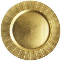"""ChargeIt by Jay Gold Banded Rim Round Melamine Charger Plate 13"""""""