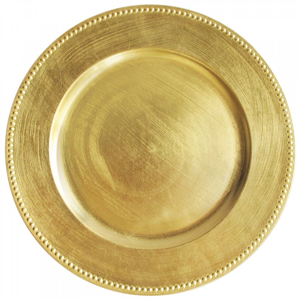 """ChargeIt by Jay Gold Beaded Round Acrylic Charger Plate 13"""""""