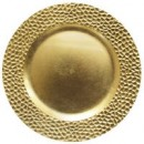 """ChargeIt by Jay Gold Hammered Round Melamine Charger Plate 13"""""""