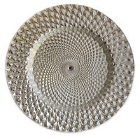 """ChargeIt by Jay Istanbul Silver Round Glass Charger Plate 13"""""""