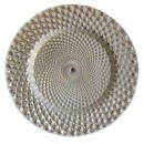 ChargeIt by Jay Istanbul Silver Round Glass Charger Plate 13""