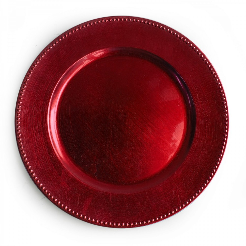 ChargeIt by Jay Red Beaded Round Charger Plate 13""