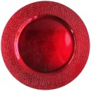 ChargeIt by Jay Red Pebbled Round Melamine Charger Plate 13""
