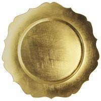 ChargeIt by Jay Scalloped Edge Gold Round Melamine Charger Plate 13""