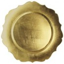 """ChargeIt by Jay Scalloped Edge Gold Round Melamine Charger Plate 13"""""""
