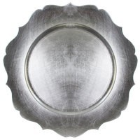 ChargeIt by Jay Scalloped Edge Silver Round Melamine Charger Plate 13""