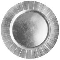 """ChargeIt by Jay Silver Banded Rim Round Melamine Charger Plate 13"""""""