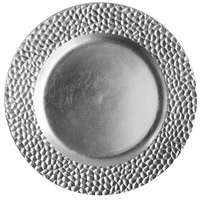 ChargeIt by Jay Silver Hammered Round Melamine Charger Plate 13""