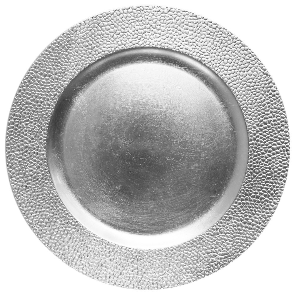 ChargeIt by Jay Silver Pebbled Round Melamine Charger Plate 13""