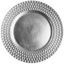 """ChargeIt by Jay Silver Tiled Round Melamine Charger Plate 13"""""""