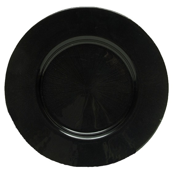ChargeIt by Jay Starburst Black Glass Round Charger Plate 13""