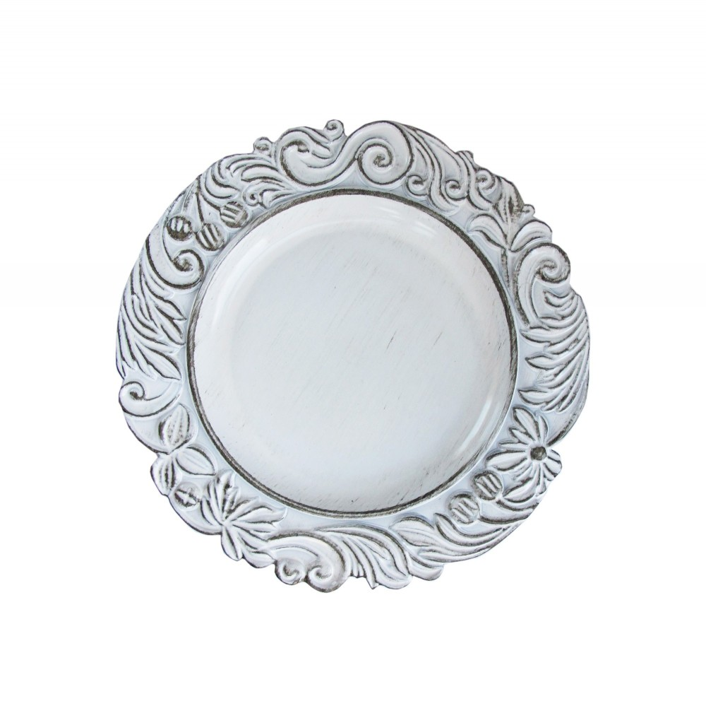 ChargeIt by Jay Round White Aristocrat Antique  Melamine Charger Plate 14""
