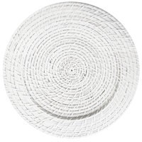 """ChargeIt by Jay Round White Round Rattan Charger Plate 13"""""""