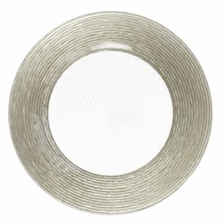 ChargeIt by Jay Circus Silver Border Glass Charger Plate 13""
