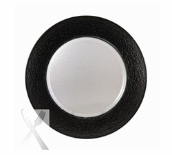 Colored Black Rimmed Glass Charger