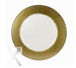 Colored Gold Rimmed Glass Charger