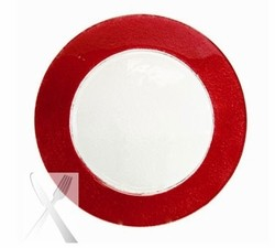 Colored Red Rimmed Glass Charger