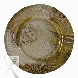 Ten Strawberry Street Cyclone Beige/Gold Glass Charger Plate 13-1/4""