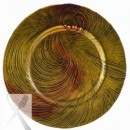 Ten Strawberry Street Cyclone Red/Gold Glass Charger Plate 13-1/4""