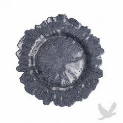Flora Glass Charger Plates - Charcoal Gray