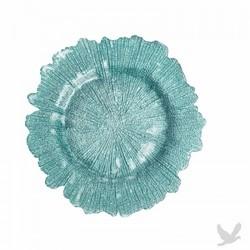 Flora Glass Charger Plates - Diamond Blue