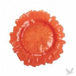Flora Glass Charger Plates - Orange