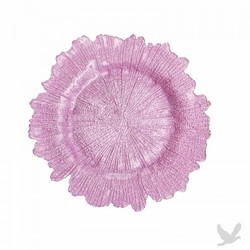 Flora Glass Charger Plates - Pink