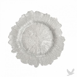 Flora Glass Charger Plates - Silver
