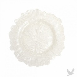 Flora Glass Charger Plates - White
