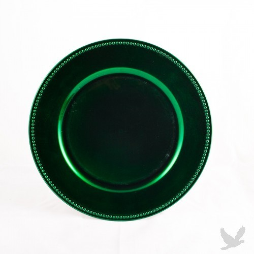 Forest Green Beaded Acrylic Charger Plates