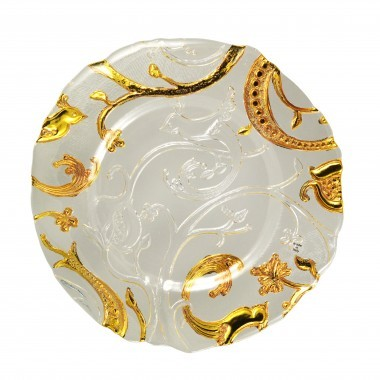 Ten Strawberry Street Giardano Clear and Gold Glass Charger Plate 13.25""