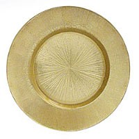 ChargeIt by Jay Glass Gold Burst Round Charger Plate 13""