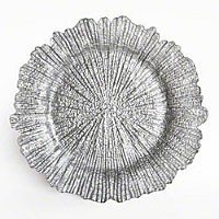 ChargeIt by Jay Glass Reef Silver Charger Plate 13.5""