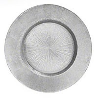 ChargeIt by Jay Glass Silver Burst Charger Plate 13""