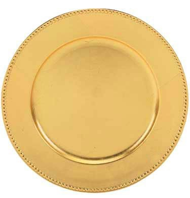 """ChargeIt by Jay Gold Acrylic Beaded Round Charger Plate 13"""""""